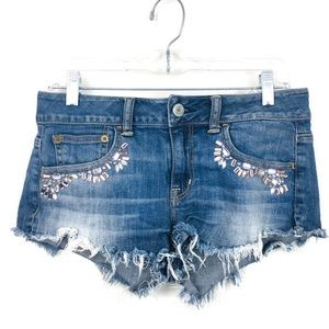 American Eagle Rhinestone Cut Off Denim Shorts